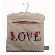 Gisela Graham Fabric Peg Bag Embroidered with LOVE & Flowers