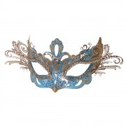 Bright Blue & Gold Venetian Style Mask