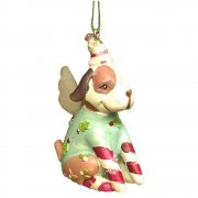 Gisela Graham Light Green Christmas Clothes Dog Christmas Tree Decoration