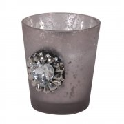 Grey Mercury Glass Jewel Candle Cup Tealight Votive Holder