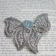 Large Swarovski Crystal Sparkle Vintage Bow Brooch in Silver