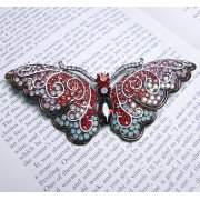Large 13cm Red & Aqua Swarovski Crystal Butterfly Brooch