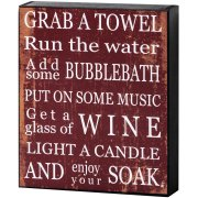 Red & White Grab A Towel Shelf Wall Plaque