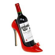Red Gloss Point Toe Stiletto Shoe Wine Bottle Holder