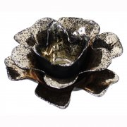Black Open Daffofil Flower Glass Tealight Holder