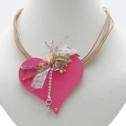 Pink Wooden Heart with multi strands Necklace