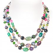 Rosie Fox Triple Strand Vintage Rainbow Stones Necklace