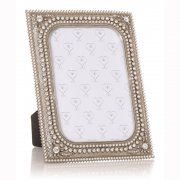 "Silver Coloured Pearl & Flower with Diamante Border 7""x 5"" Photo Frame"