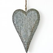 Heaven Sends Calligraphy Script Glittered Hanging Heart Decoration