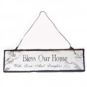 Heaven Sends Bless Our Home With Love and Laughter Small Hanging Sign
