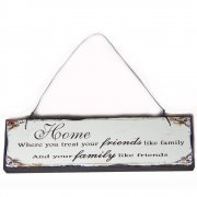 Heaven Sends Home Friends Like Family Small Hanging Sign