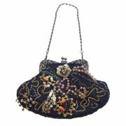 Vintage Style Black & Gold Beaded & Sequin Evening Bag