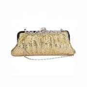 Gold Chainmail Clutch Evening Bag with Intricate Diamante Clasp