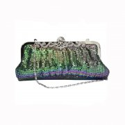 Peacock Chainmail Clutch Evening Bag with Intricate Diamante Clasp