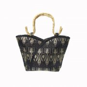Oriental Black & Gold Silk Brocade Handbag with Bamboo Handles