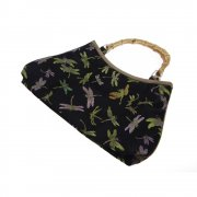 Oriental Black Silk Brocade Handbag with Dragonfly Embroidery & Bamboo Handles