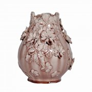 Small Blush Pink Flower Vase with relief work flowers