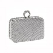 Silver Diamante Evening Bag topped with a crystal ring