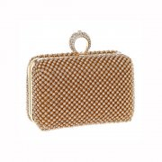 Gold Diamante Evening Bag topped with a crystal ring