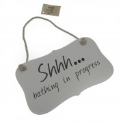 Heaven Sends Shhh... Bathing In Progress Small Wooden Hanging Sign