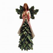 Classic Christmas Green Holly Angel Praying