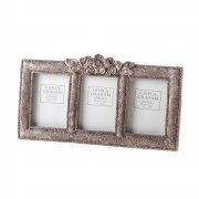 Gisela Graham Vintage Chic Antique Silver Rose Triple Photo Frame