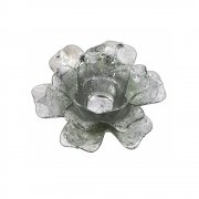 Silver Open Daffodil Flower Glass Tealight Holder