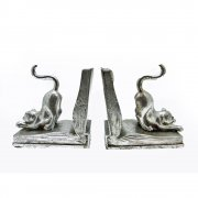 Pair of Silvered Curious Cat On An Open Book Bookends