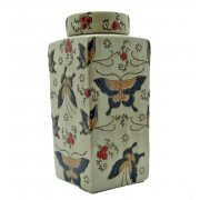 Oriental Square Textured Butterfly Lidded Tea Caddy Jar