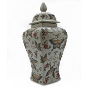 Oriental Square Textured Butterfly Lidded Jar Vase