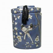 Oriental Painted Birds Of Paradise & Blossom Blue Lidded Jar