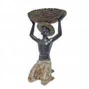 Kneeling African Boy Holding A Basket Above His Head Tealight Holder