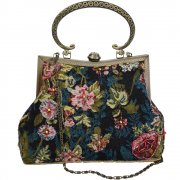 Vintage Style Black Foral Beaded Tapestry Evening Bag