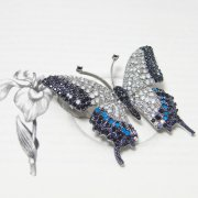Elegant Clear, Blue & Black Swarovski Crystal Butterfly Brooch