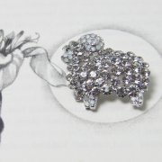 Swarovski Crystal Clear & AB Sheep Brooch Pendant