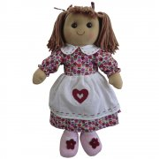 Powell Craft 40cm Rag Doll Wearing a Purple Floral Dress with White Apron
