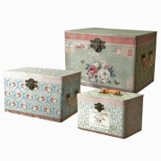 Heaven Sends Set of 3 Distressed Pastel Floral Wooden Storage Boxes