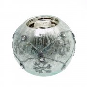 Gisela Graham Frozen Blue Damask Jewel Ball Tealight Holder