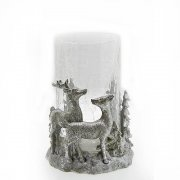 Silver Reindeer in Woodland Christmas Candle Holder