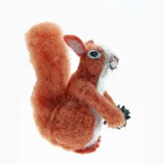 Felt Fabric Red Squirrel with a Pine cone Christmas Decoration
