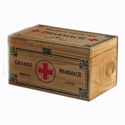 Heaven Sends Vintage Style Pharmacie First Aid Medicine Wooden Box