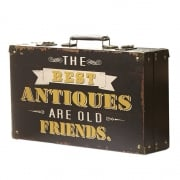 Heaven Sends Vintage Style The Best Antiques Are Old Friends Wooden Storage Suitcase Box