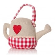 Gingham Check Heart Applique Watering Can DoorStop
