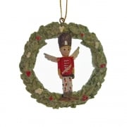 Gisela Graham Toy Factory Resin Wreath with a Soldier Christmas Tree Decoration