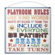 Heaven Sends Playroom Rules Metal Sign