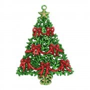 Gisela Graham Green Glitter Christmas Tree With Red Bows Tree Decoration