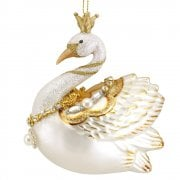 Gisela Graham Cream & Gold Glass Swan with Pearls Christmas Tree Decoration