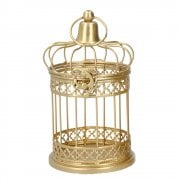 Gisela Graham Gold Metal Bar Bird Cage Decoration