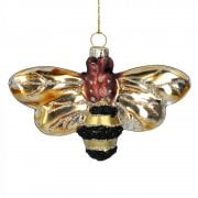 Gisela Graham Painted Glass Bumble Bee Christmas Tree Decoration
