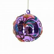 Gisela Graham Lilac Embroidered Applique Bauble Christmas Tree Decoration